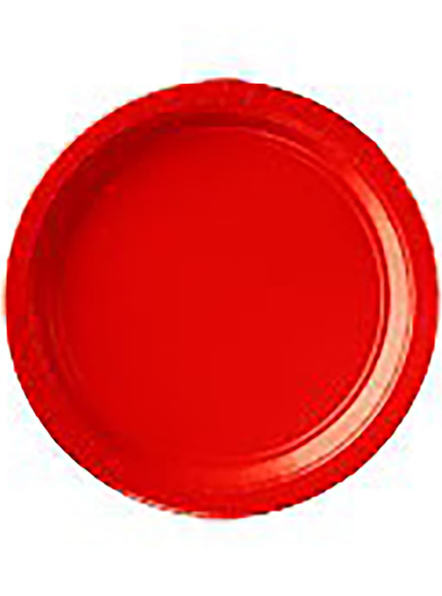 assiettes rouges lot de 8 de f te funidelia. Black Bedroom Furniture Sets. Home Design Ideas