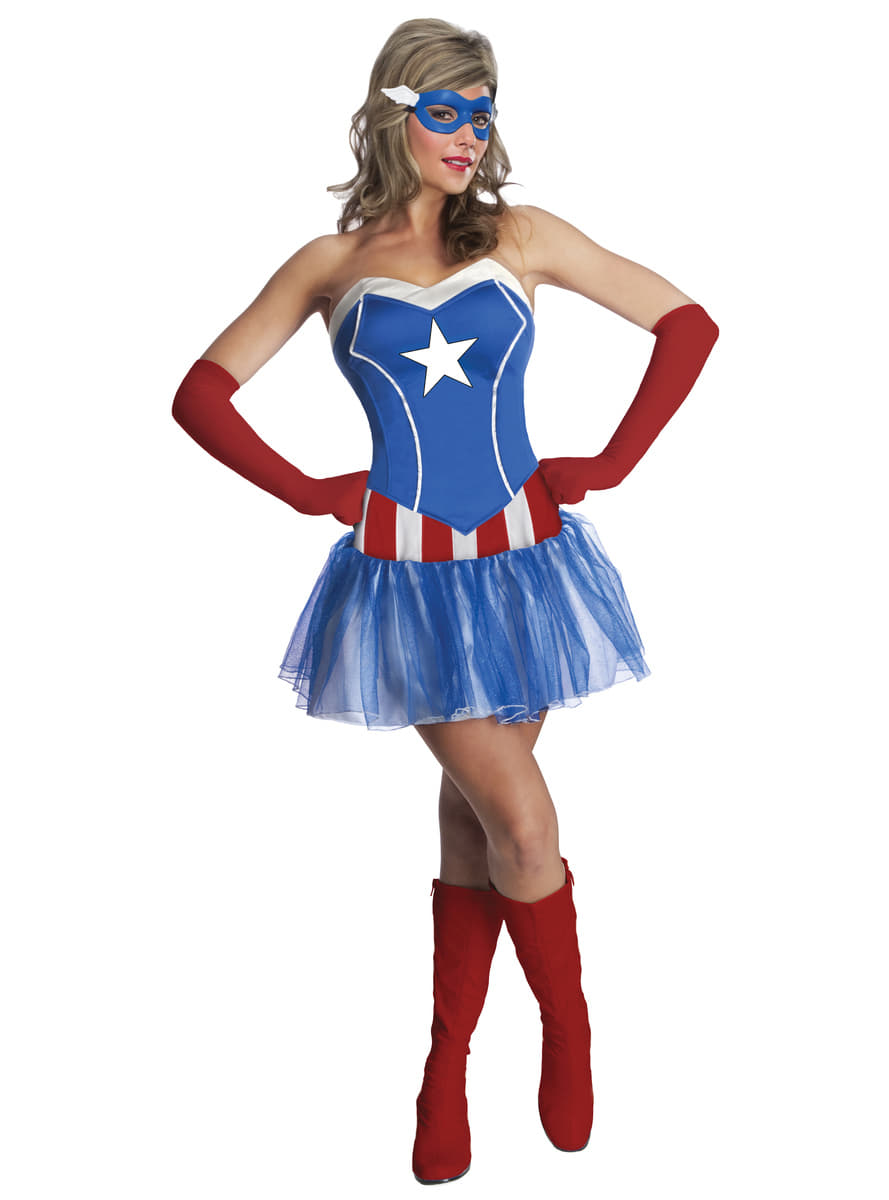 captain america marvel kost m classic f r damen. Black Bedroom Furniture Sets. Home Design Ideas